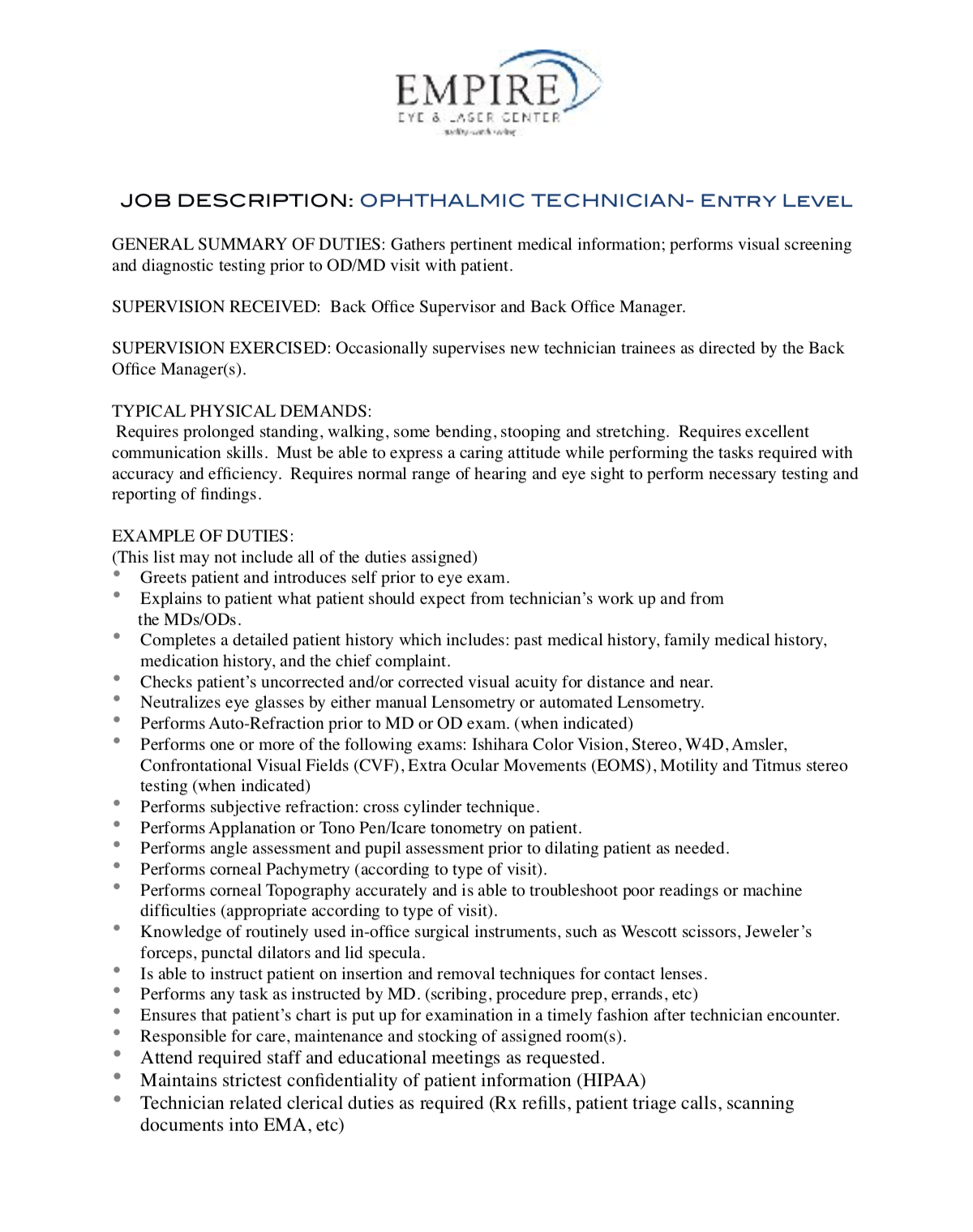 Ophthalmic Technician Entry Level